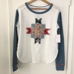 Free people ivory combo long sleeve thermal